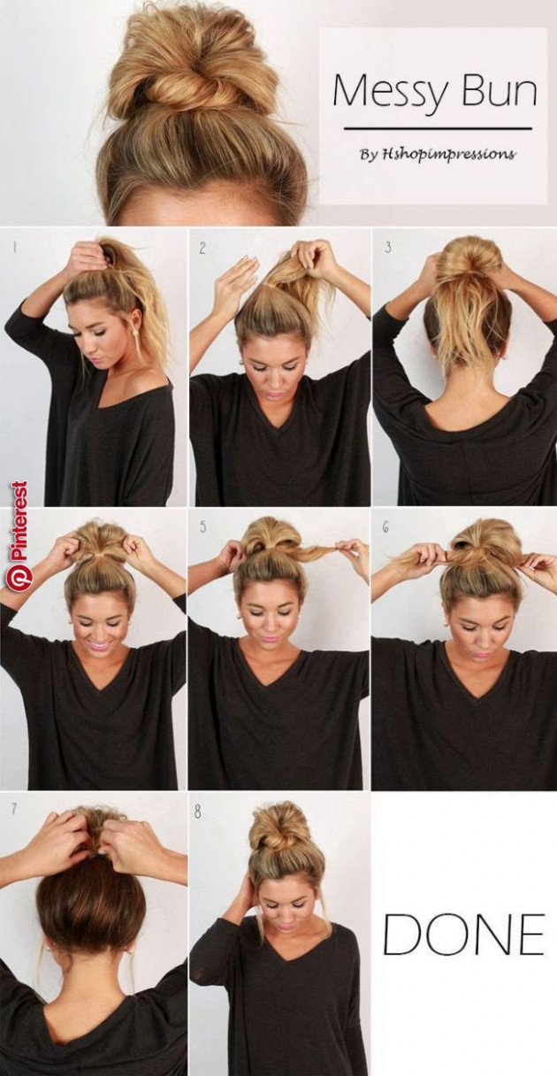 Pin by Shelby Hogue on Hair styles!  Diy hairstyles easy, Easy  - Easy Messy Bun