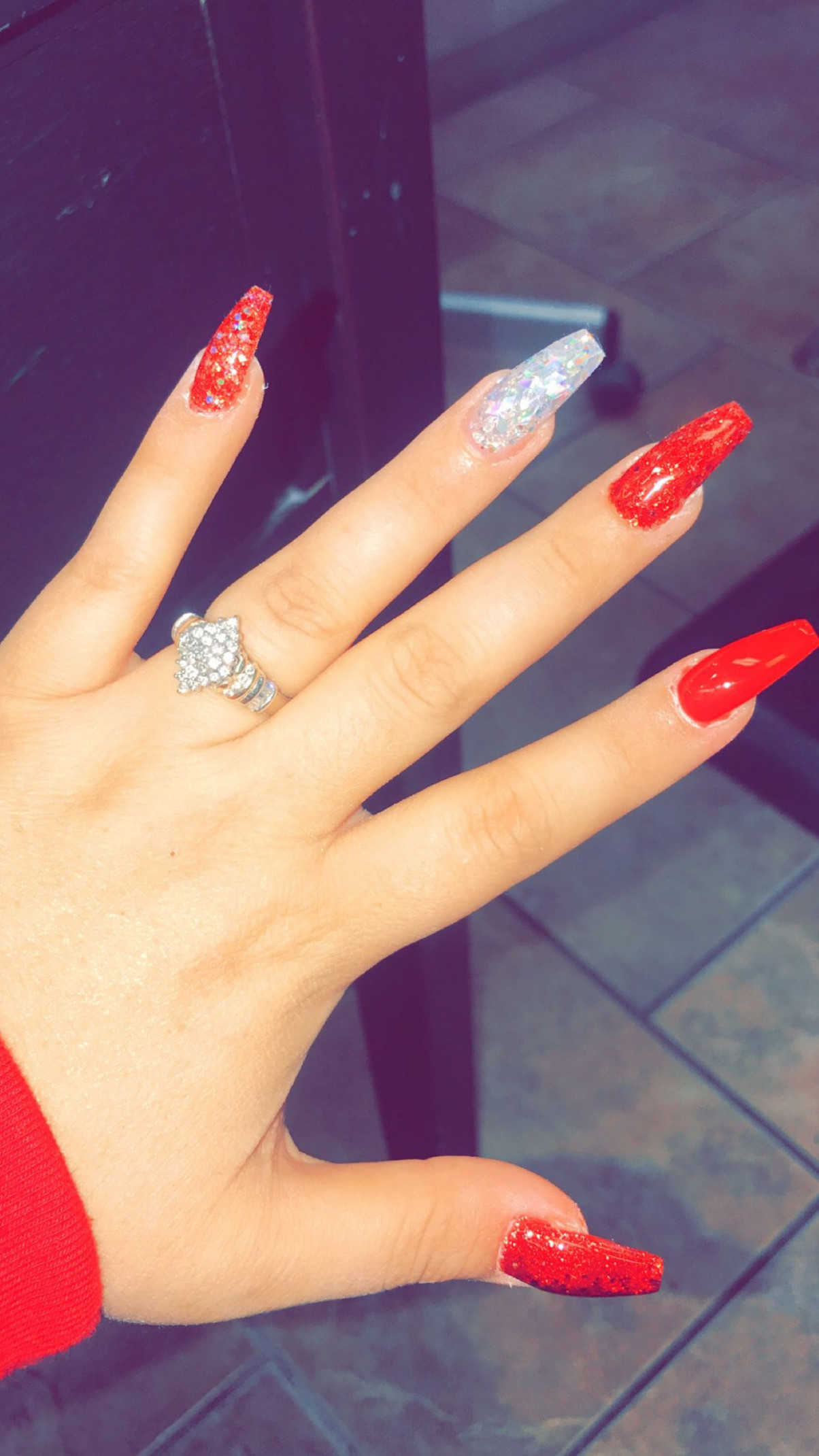 Red and silver nails #coffin #red❤️😍🔥  Red and silver nails