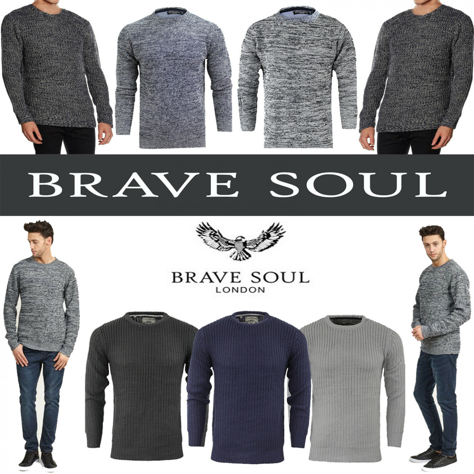 Details zu BRAVE SOUL MENS CREW NECK JUMPERS PULLOVER LONG SLEEVE WINTER  SWEATER KNITTED TO