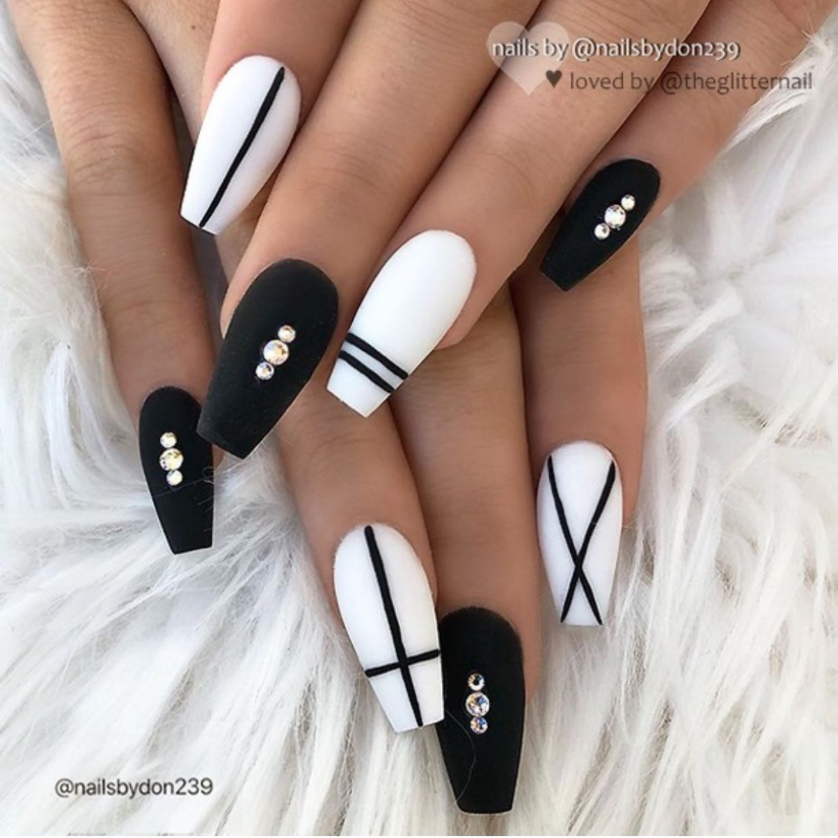 nails #women #style #beauty  Matted nails, Chic nails, Coffin  - Black And White Coffin Nail Designs