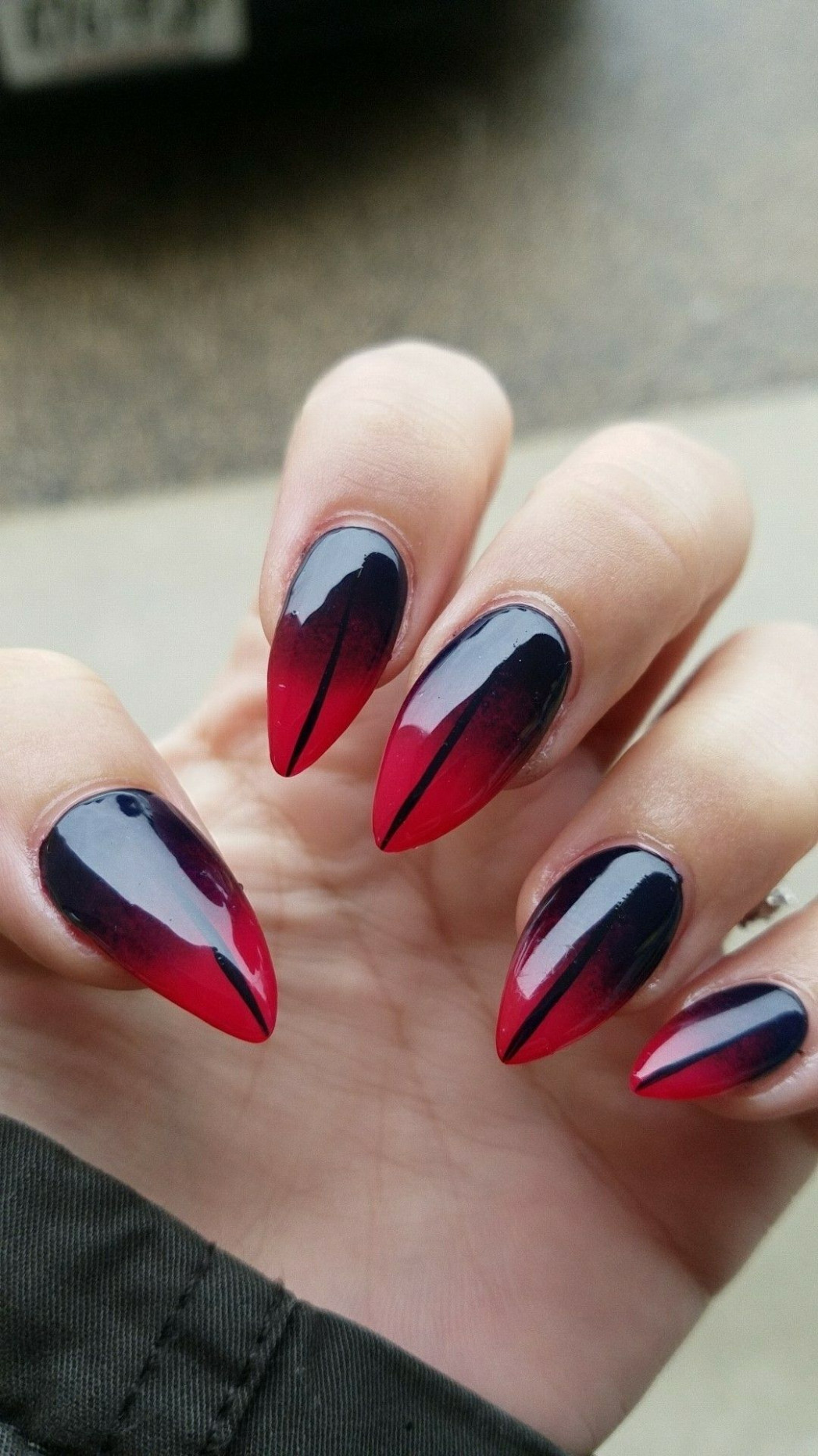Ombre red and black nail design  Red nail designs, Ombre nail  - Black And Red Nail Ideas