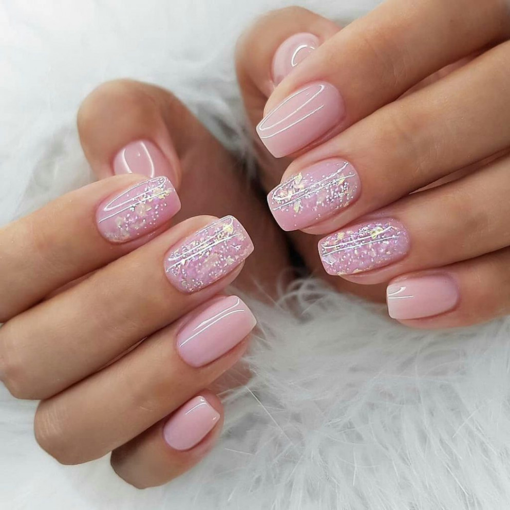 Pink square nails with wonderful shining - Nail art designs - Pink Manicure Ideas