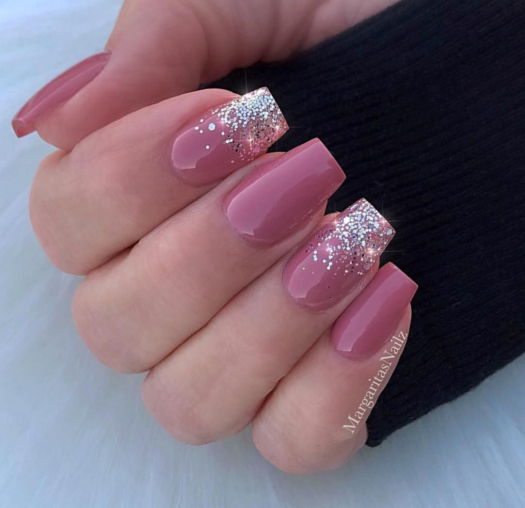 Silver glitter ombré mauve nails natural nail design by  - Mauve Nails With Design