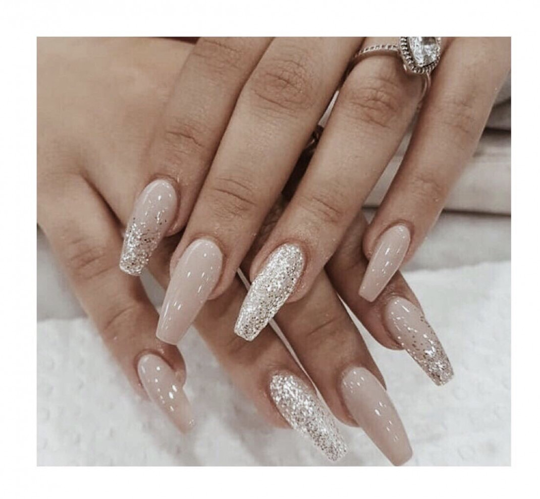 """Simple Nails on Twitter: """"Nude and glitter nail polish inspiration  - Simple Nails"""