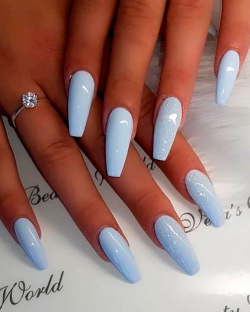 So cute baby blue coffin shaped nails  Blue acrylic nails, Coffin