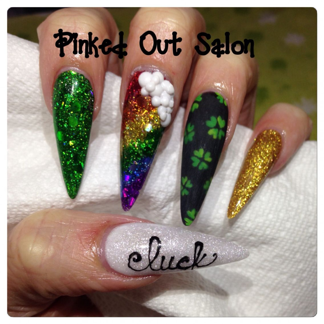St Patrick's Day nail art. Check out Pinked Out Salon on FB