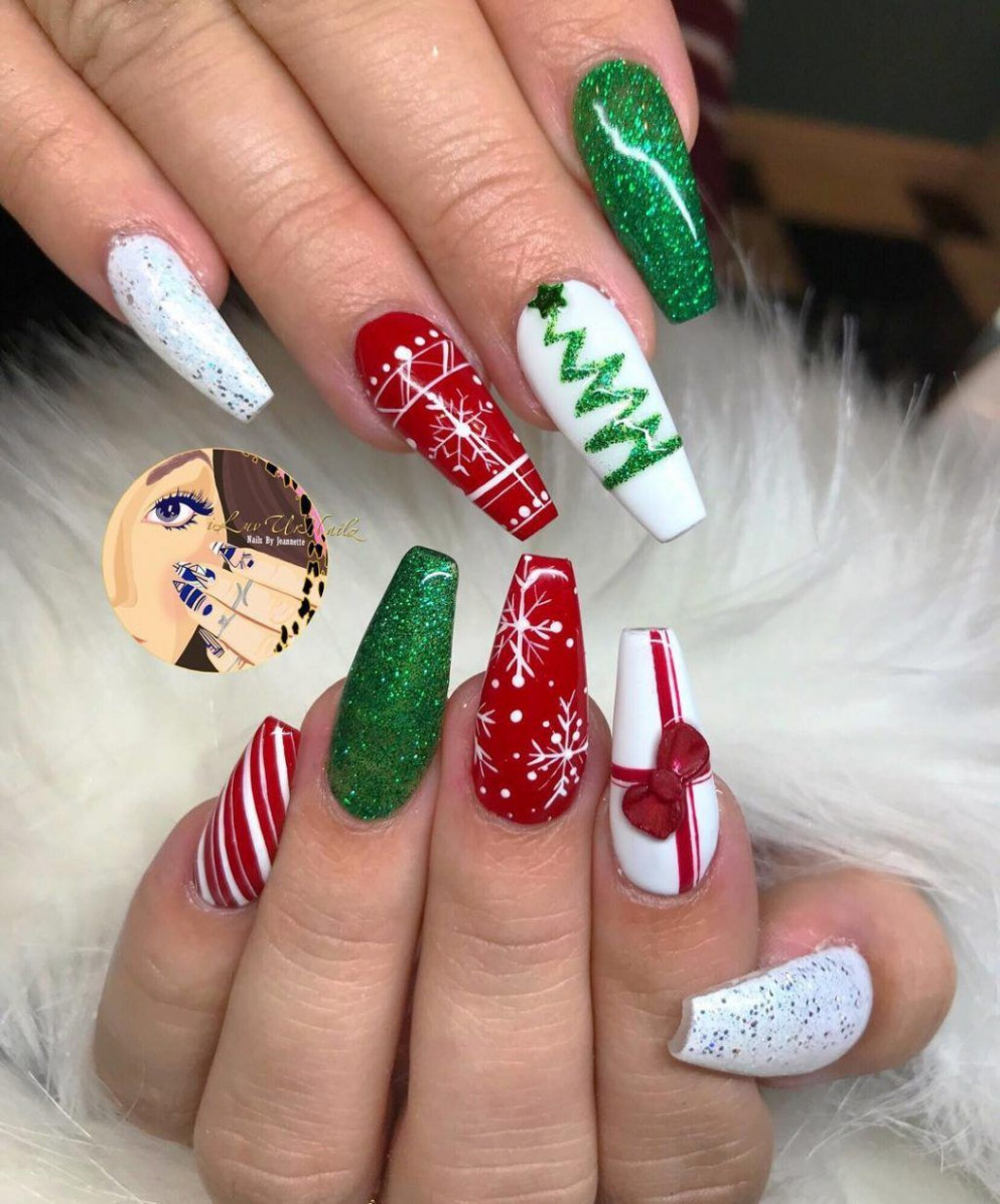 The Cutest and Festive Christmas Nail Designs for Celebration  - Cute Christmas Acrylic Nail Designs