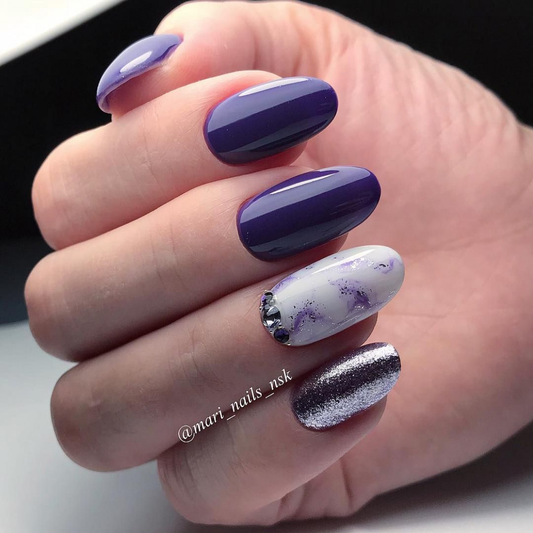 violet nails w/ marble accent nails & metallic accent nail