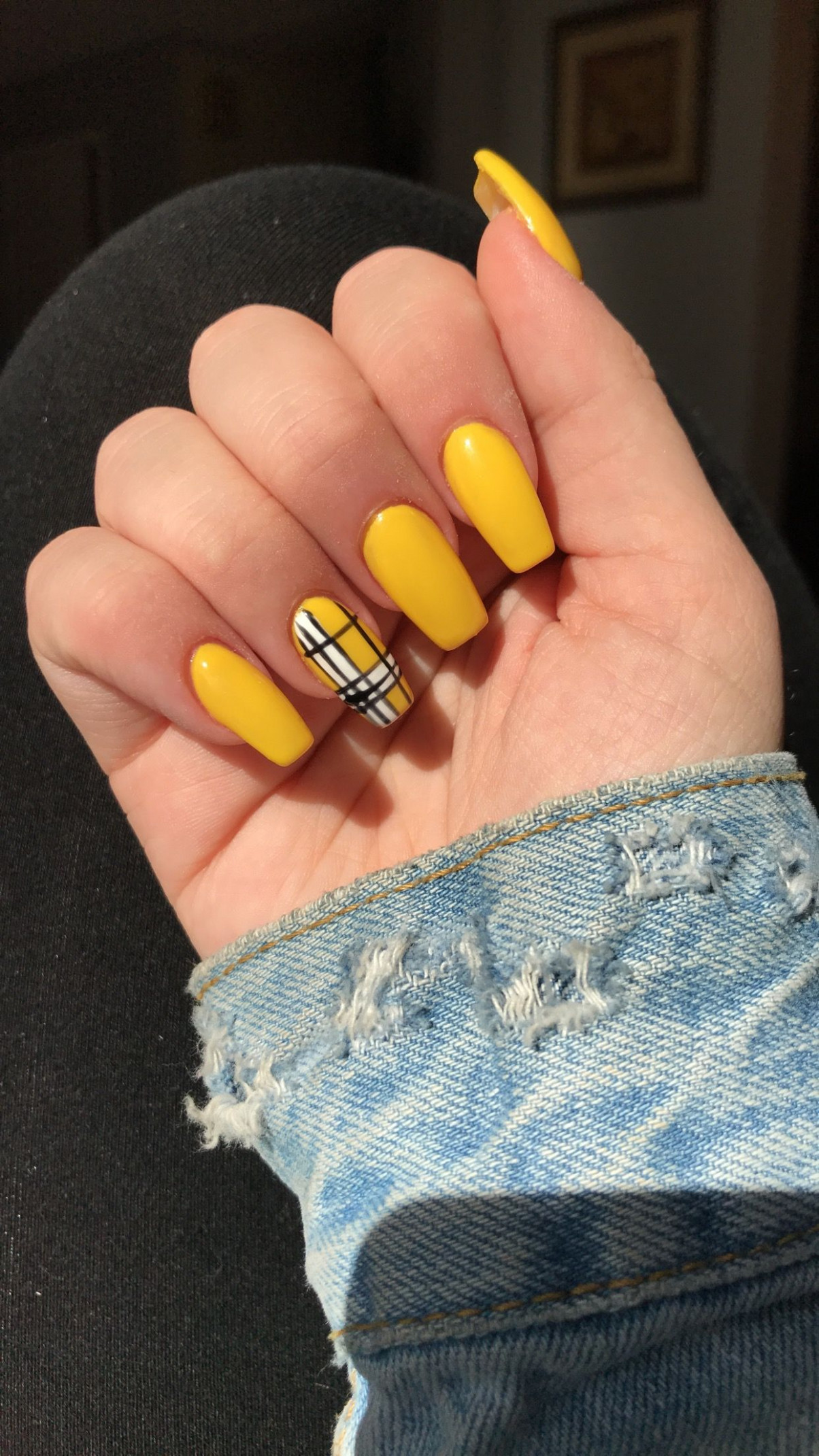 Yellow & Plaid Coffin Shaped Acrylic Nails  Yellow nails, Yellow  - Yellow Acrylic Nail Designs