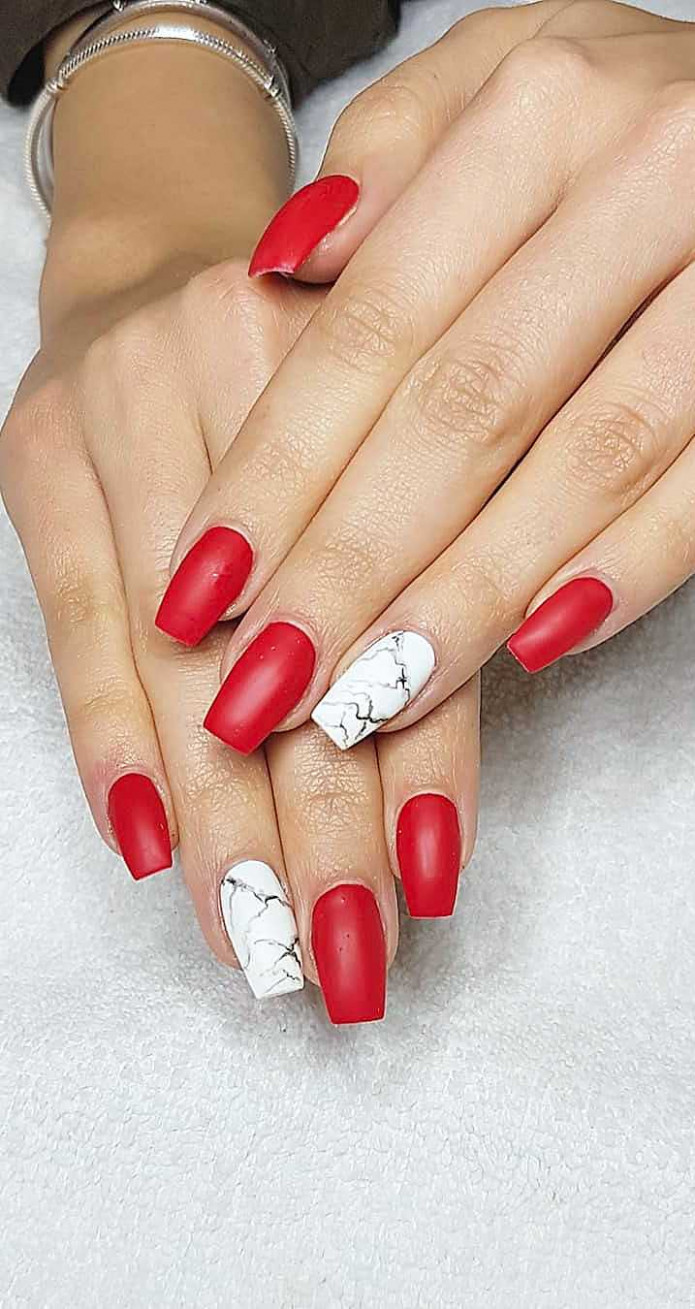11 Matte Red Nails Ideas. Successful Acrylic and Coffin Designs