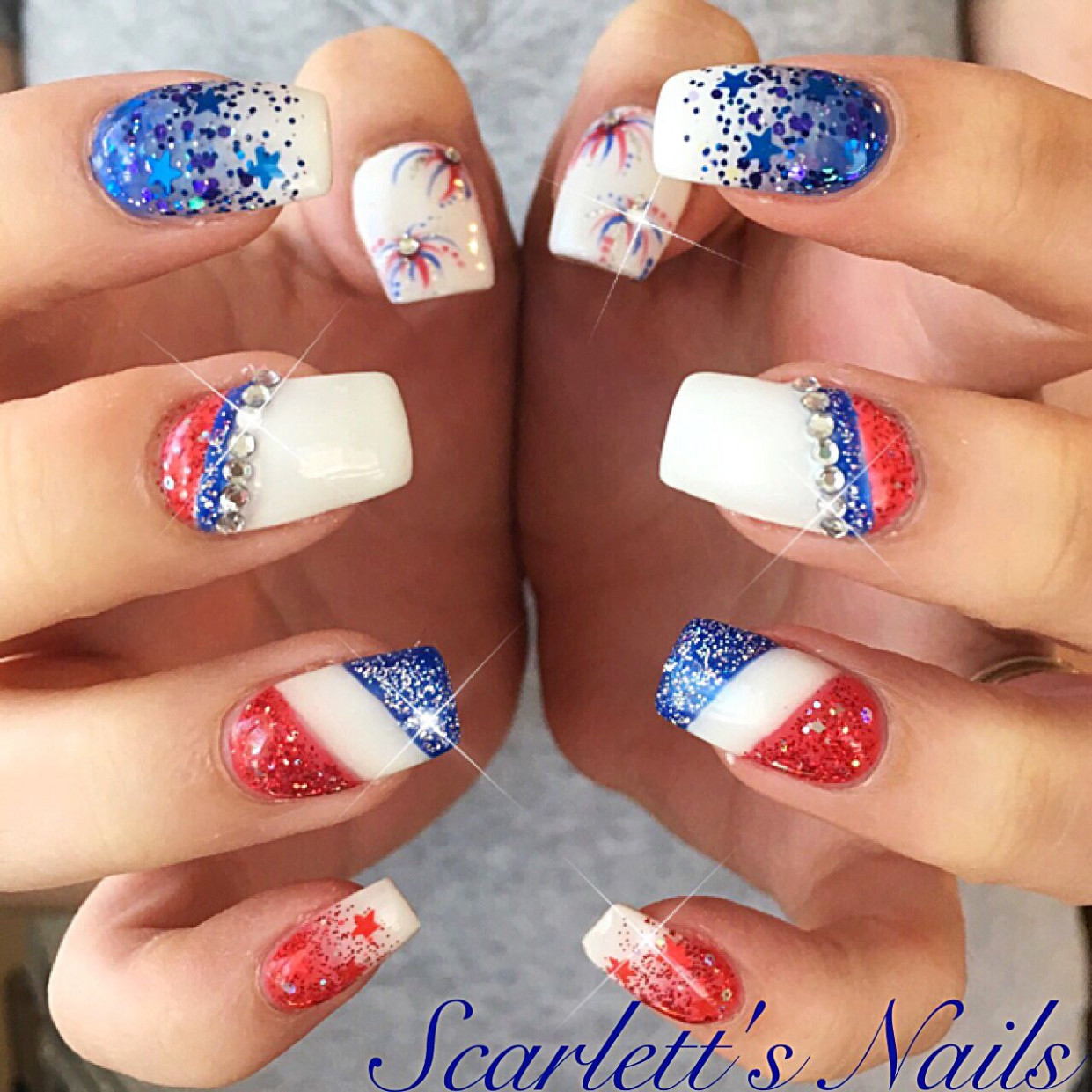 9th of July firework glitter ombré red white and blue Swarovski
