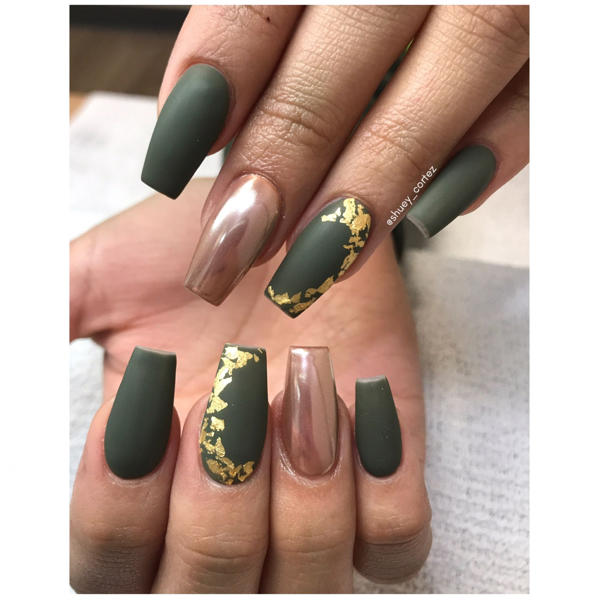 Olive Green Nails Instagram @shuey_cortez  Olive nails, Green