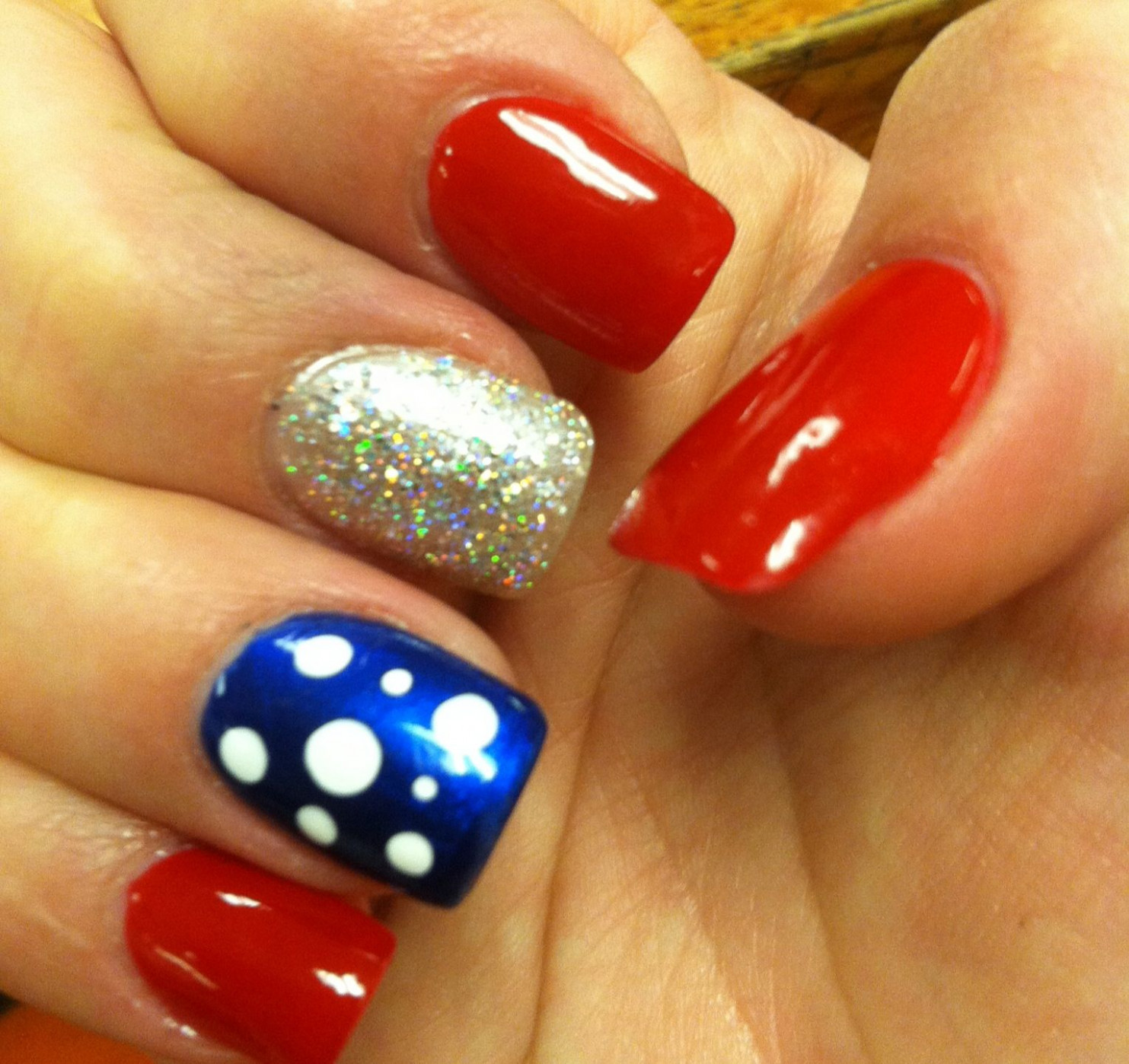 Pin by Heather Chapman on nails!  Blue gel nails, Red nail