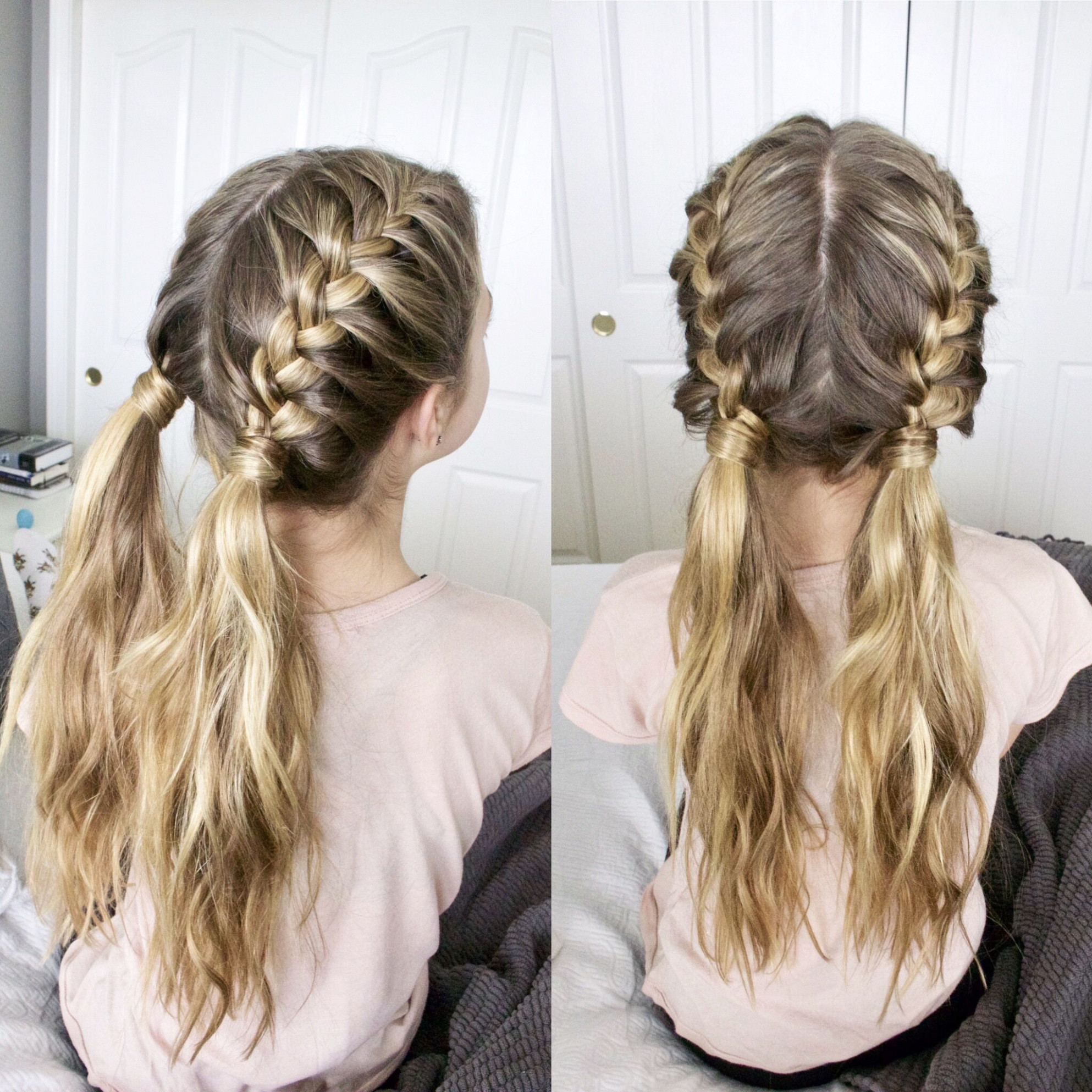 Two French braids into messy pigtails  Braided hairstyles, Two