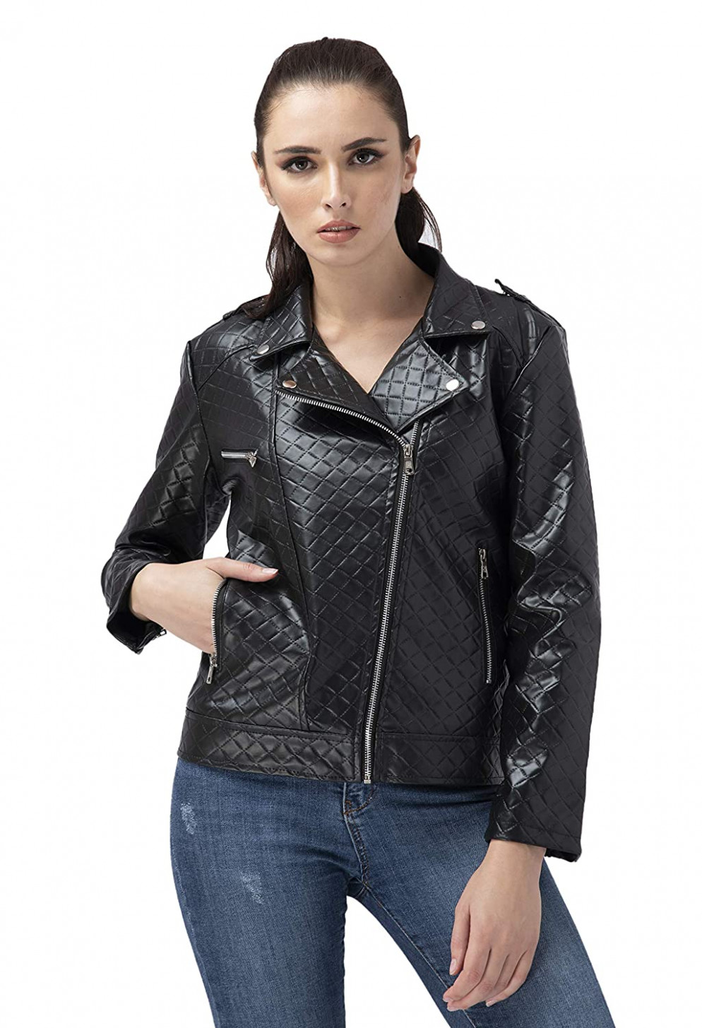 Buy Online Shopping Mall PU Leather Full Sleeve Casual Jacket for  - Jacket For Girl Online Shopping